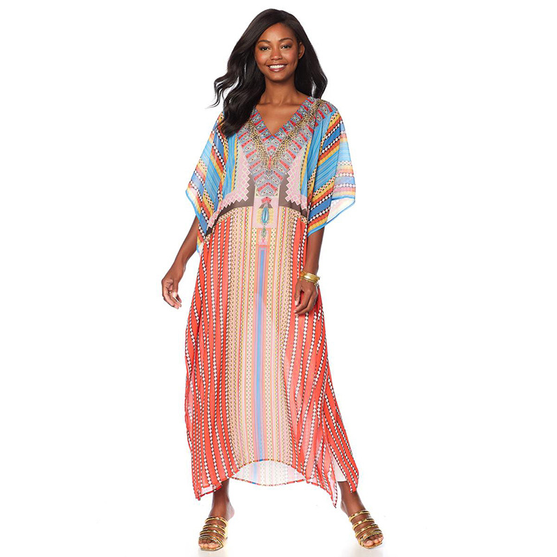Oversize Beach Cover up Chiffon Dress for Beach Swimsuit Cover up Robe Plage Sarong Beach Tunic Swimwear image