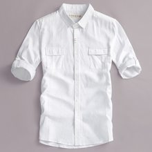 2019 Summer and autumn men shirt linen brand white shirts for men half-sleeved casual solid shirt for men fashion chemise camisa(China)