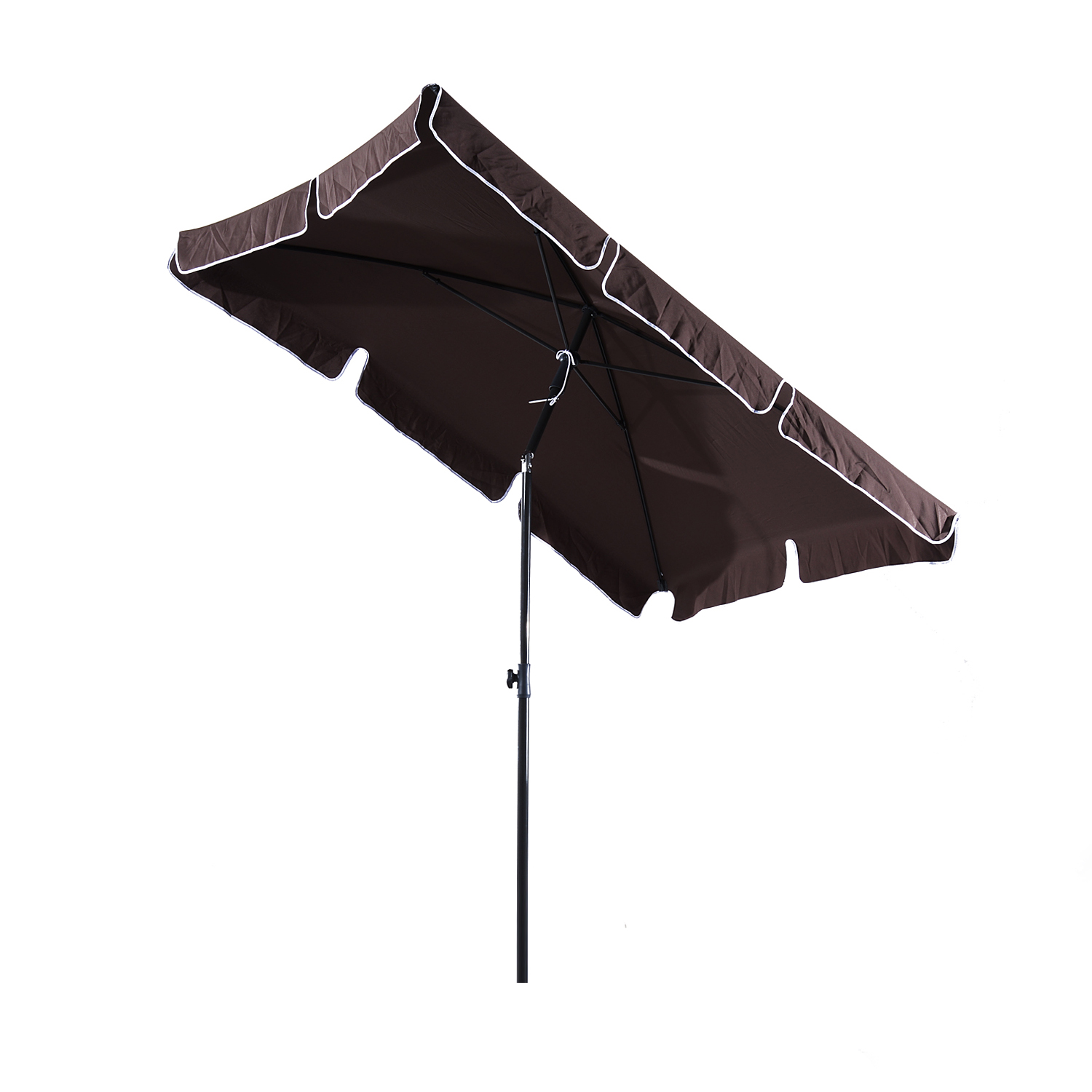 Outsunny Umbrella Parasol With Pole Tilt Rectangular Garden And Beach Polyester 200 × 125 × 235cm Brown