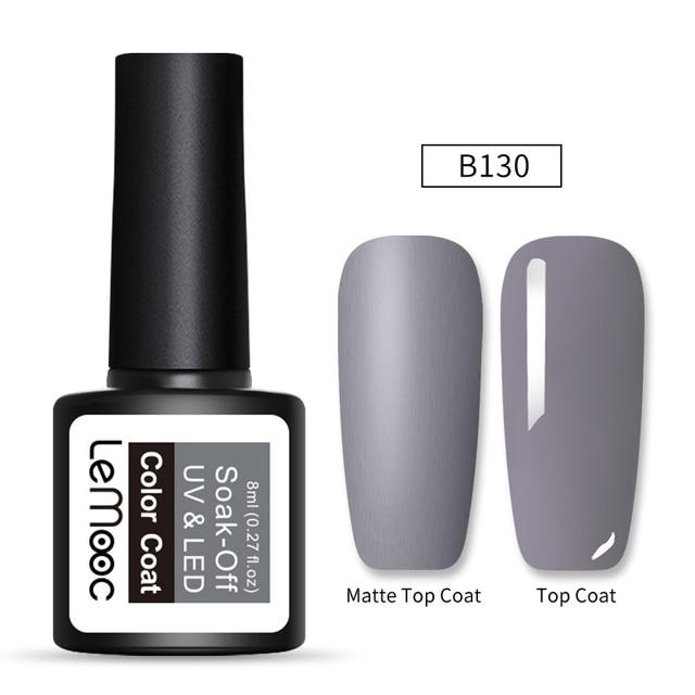 LEMOOC 8ml Matte Top Coat Color UV Gel Nail Polish Gray Series Semi Permanent Soak Off UV Gel Varnish DIY Nail Art Gel Paint 5