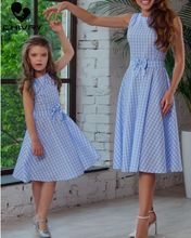 Chivry New Mother Daughter Dresses Fashion Sleeveless Plaid Bowknot Belt Dress Mom and Sundress Family Matching Clothes