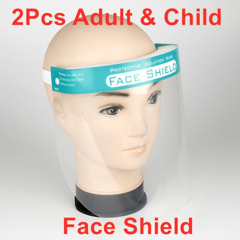 2Pcs New Protective Face Shield Full Face Cover Mask Transparent Dust-proof Droplet Anti-Fog Eye Protection Safe Mask Kids Adult
