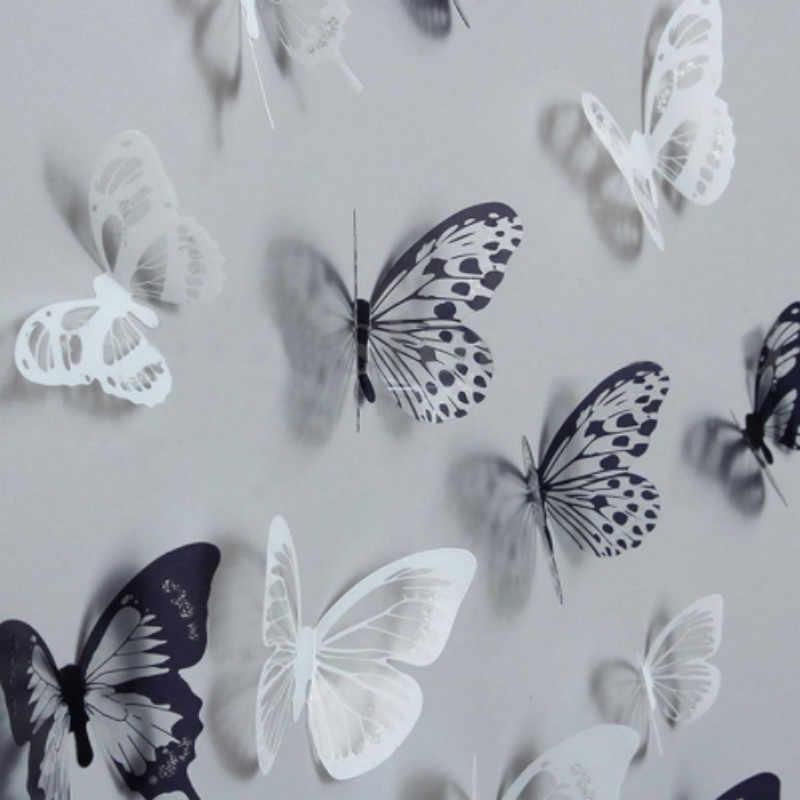 Heißer Verkauf 18Pcs 3D Schwarz Und Weiß Schmetterling Aufkleber Kunst Wand Aufkleber Hause Dekoration Zimmer Dekor Für Wand