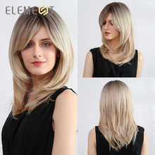 Element Synthetic Natural Wave Wigs Dark Root Ombre Blonde Cosplay Party Wigs with Side Bangs for Black White Women Fake Hair