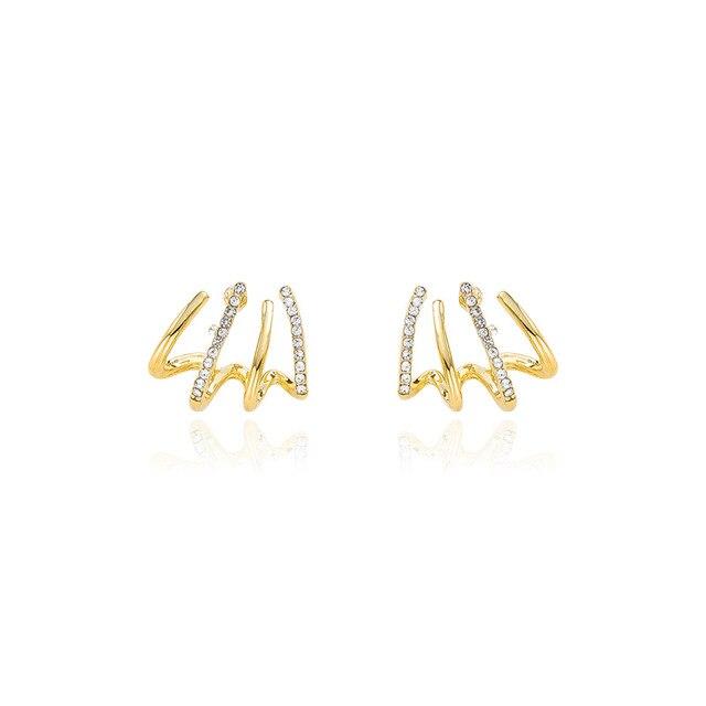 New contracted small Geometric metal Earrings 2020 Korean shiny crystal sweet fresh senior Women Stud Earrings 6