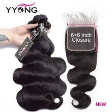 Tissage en lot brésilien Remy avec Closure – YYONG Hair, cheveux naturels, Body Wave, 6x6