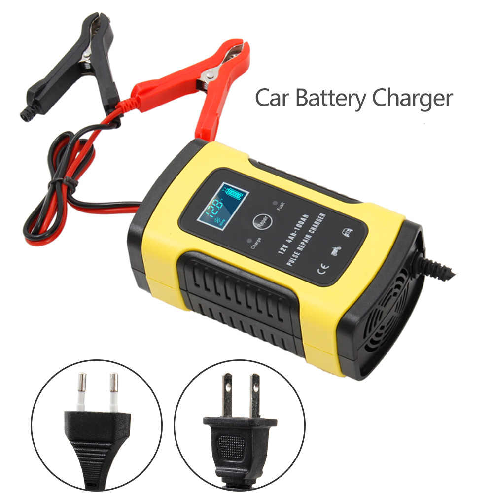 Full Automatic Car Battery Charger 110V To 220V for 12V 6A Intelligent Fast Power Charging Wet Dry Lead Acid Digital LCD Display