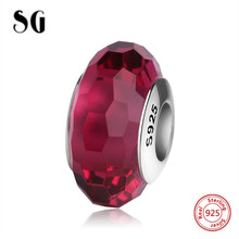 SG new Murano glass beads sterling silver 925 diy red charms fit authentic pandora bracelet jewelry accessory making women gift