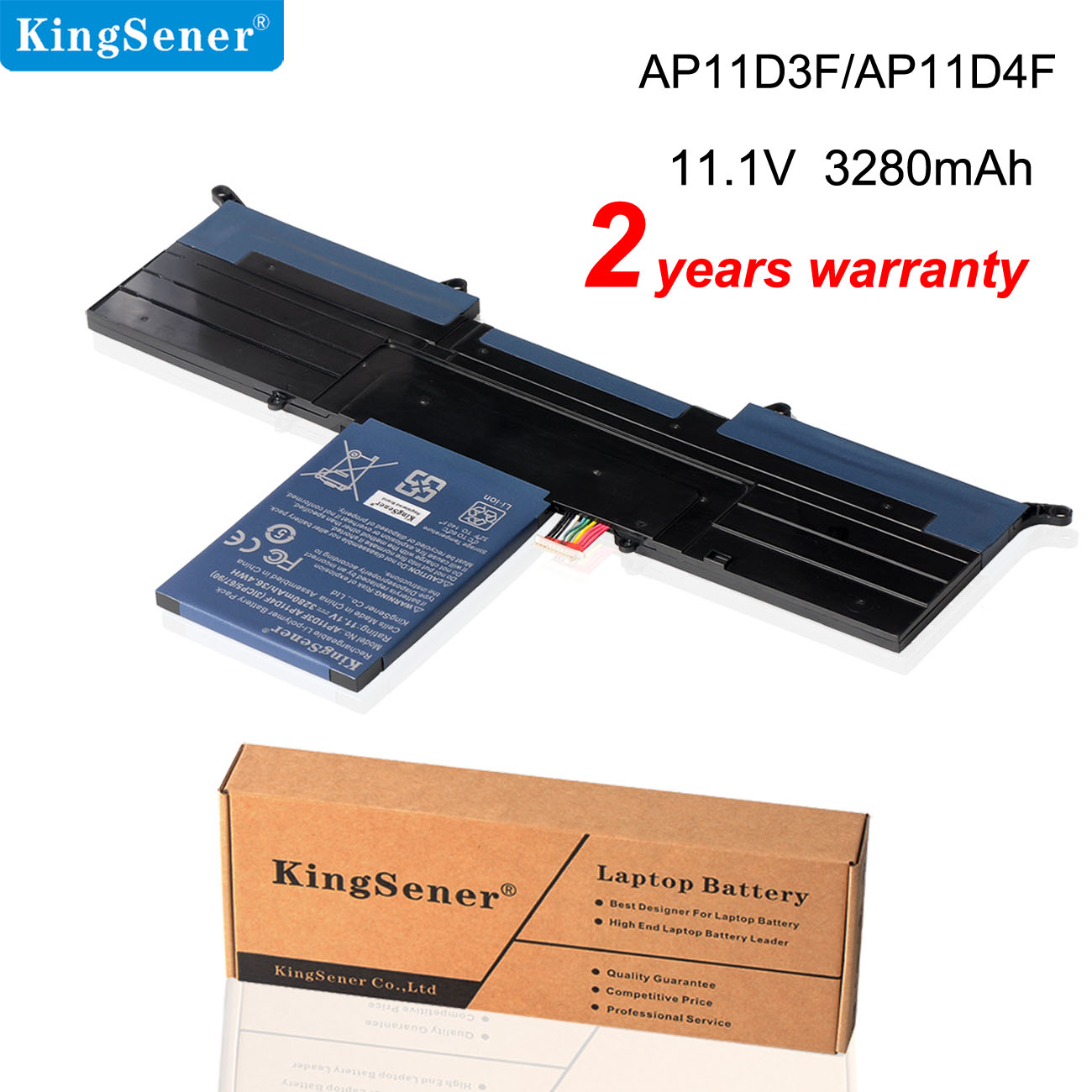 KingSener New <font><b>AP11D3F</b></font> AP11D4F Laptop Battery For Acer Aspire S3 S3-951 S3-391 MS2346 3ICP5/65/88 3ICP5/67/90 11.1V 3280mAh image