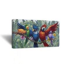 Разноцветные попугаи в плакаты с изображением леса и принты