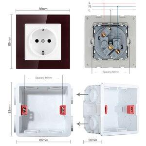 Image 5 - SRAN جدار الكريستال والزجاج لوحة 3 الإطار مقبس الطاقة ، الاتحاد الأوروبي القياسية 16A التوصيل التأريض 258 مللي متر * 86 مللي متر الثلاثي المقبس