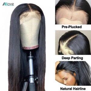 Image 4 - Парик Allove 30 дюймов на сетке спереди, прямые парики из человеческих волос для женщин, предварительно выщипанные прозрачные парики на сетке, бразильский парик из прямых волос