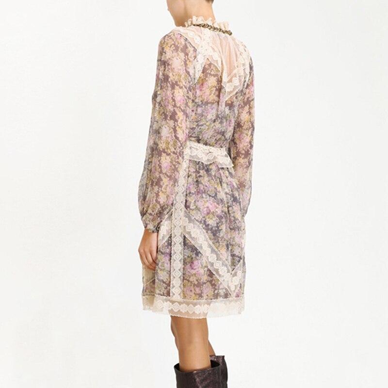 MIAOQING Vintage Lace Patchwork vestido con mangas puff Ruffle cuello alta cintura Vestidos Mujer 2019 otoño moda nuevo - 3