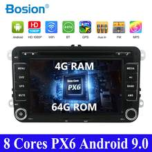 PX6 2 din For Volkswagen Passat POLO GOLF Tiguan CC Skoda Fabia Rapid Yet Seat Leon 4G 64G Steering Wheel CAR DVD GPS Stereo DAB(China)