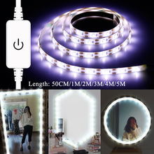 Dressing Table luces espejo USB 5V Mirror Lights US EU Plug Hollywood Vanity Makeup Lamp Kit 1M 2M 3M 4M 5M Dimmable Light Strip