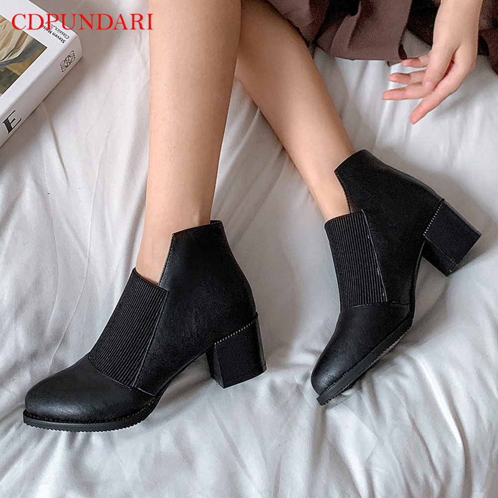 Round Toe Shallow Ankle boots for women High heels boots Ladies Casual autumn Short boots shoes black brown