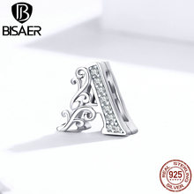 Bisaer Letter Charms 100% 925 Sterling Silver Letter A Alphabet Beads Charms Fit Bracelets DIY Jewelry ECX111(China)