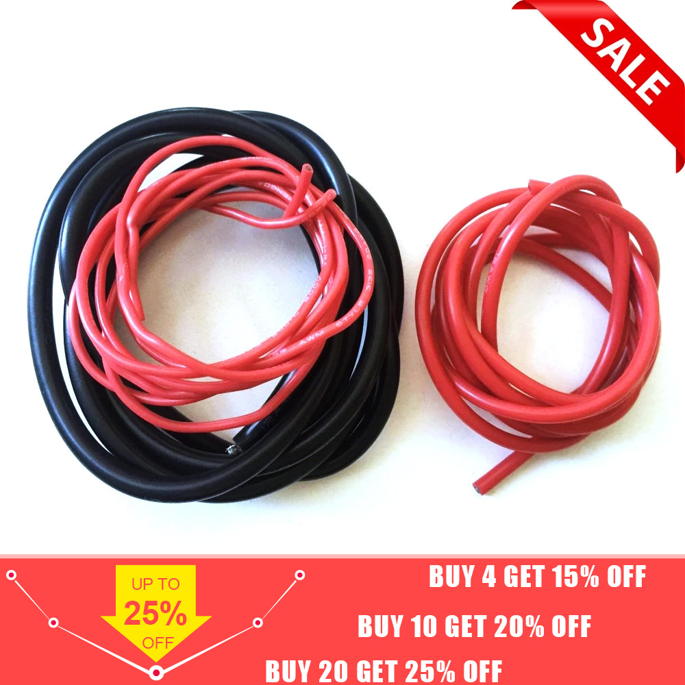 2 Meter Silicon Wire 8 10 12 14 16 18 20 22AWG Heatproof Soft Silicone Silica Gel Wire Cable (1meter Red+1meter Black) )