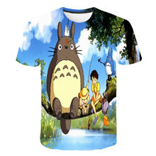 Meu vizinho totoro 3d meninos e meninas estúdio ghibli camiseta impressão kawaii hayao miyazaki feno camiseta dos desenhos animados crianças roupas 4t-14