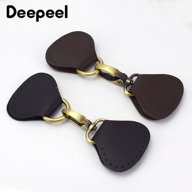 Deepeel 2pcs Leather Metal Hasp Hook Handle Buckle For Bag Both Sides Connection Hanging Ring Handmade Sewing Accessories BF211