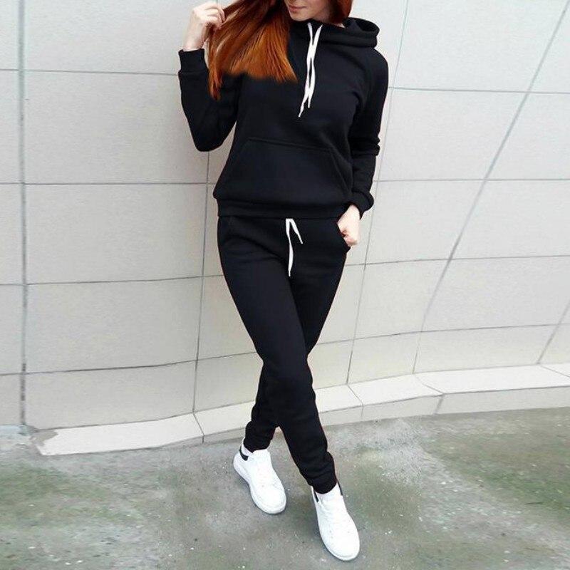 2019 Autumn Winter Women Tracksuit Set Women Top Long Pants Set Hoodie Sportwear Pullover Hooded Sweatshirt Trousers Pocket