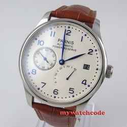 43mm parnis biała biała tarcza rezerwa chodu luksusowej marki prawdziwej skóry solidnym zapięciem mechanizm automatyczny męski zegarek P99B|Zegarki mechaniczne|Zegarki -