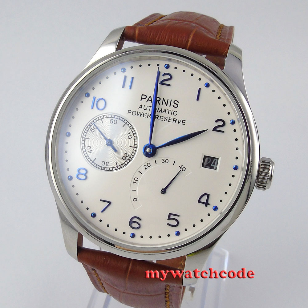 43mm Parnis White White Dial Power Reserve Luxury Brand Genuine Leather Deployment Clasp Automatic Movement Mens Watch P99B