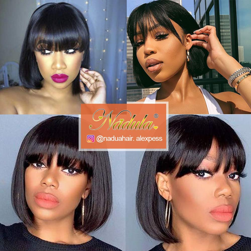 Nadula Short  Wigs With Bangs Full Machine Made Wig Straight Short Bob  Wigs  Natural Color 6