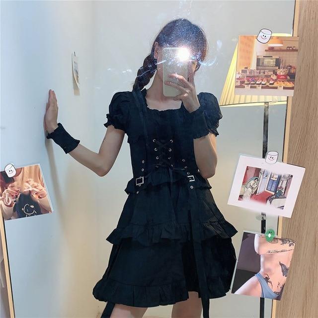 Women's Gothic Lolita Dress Goth Punk Gothic Harajuku Mall Goth Style Bandage Black Dress Emo Clothes Dress Spring 2021 4