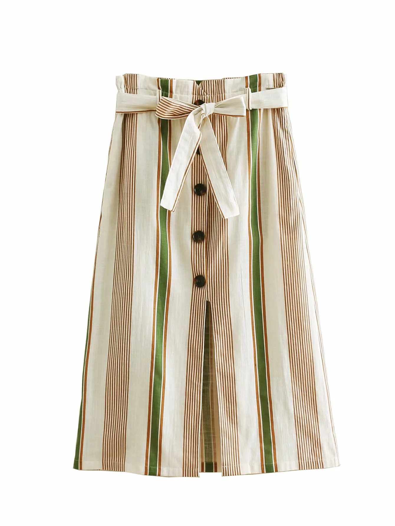 INS New Style European And American Women's Striped Country Dress Mid-length Skirt