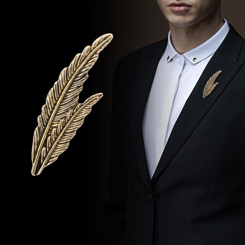 Feather Leaf Herrenanzug Hemd Corsage Revers Pin Krawatte Hut Brosche Golden