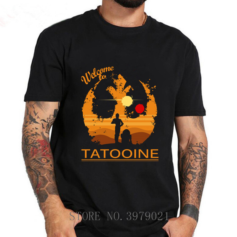 New Trendy Young Man T Shirt Star Wars Welcome To Tatooine Men's Vintage T-Shirt 100%cotton O-neck Casual Breathable T-Shirt