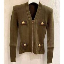 Cosmicchic Women Cardigan Knitted Jacket V-Neck Zipper Golden Button Pockets Sweater Short Coat Solid Color Shoulder Pad Jackets