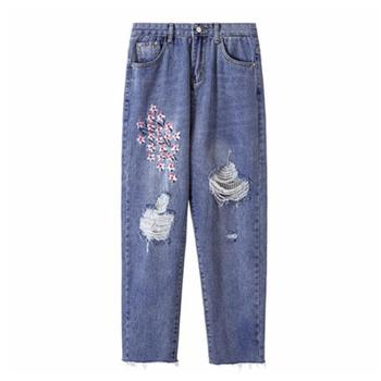 Denim pants Women's Floral Embroidery Blue Jeans Loose Ripped straight women jeans plus size 4xl r149 Straight Jeans