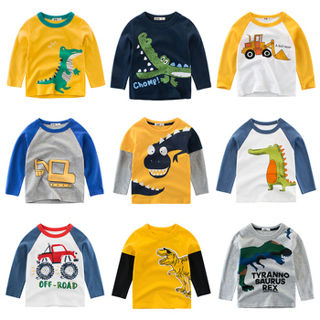 Boys T Shirt Long Sleeves Kids Girls Toddler Children Cotton Tops Cartoon Baby Dinosaur Tee Teens Clothing Clothes Full  Infant