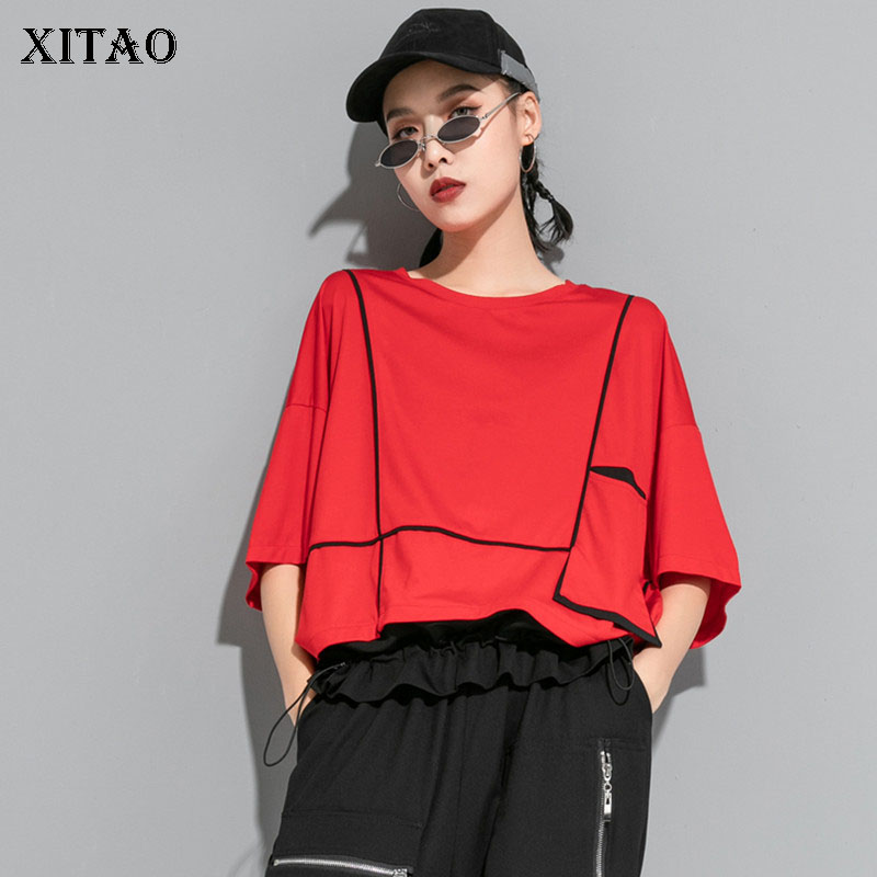 XITAO Women Fashion New T Shirt Fashion New 2020 Summer Pullover Goddess Fan Striped Goddess Fan Pleated Tee Top DMY5325