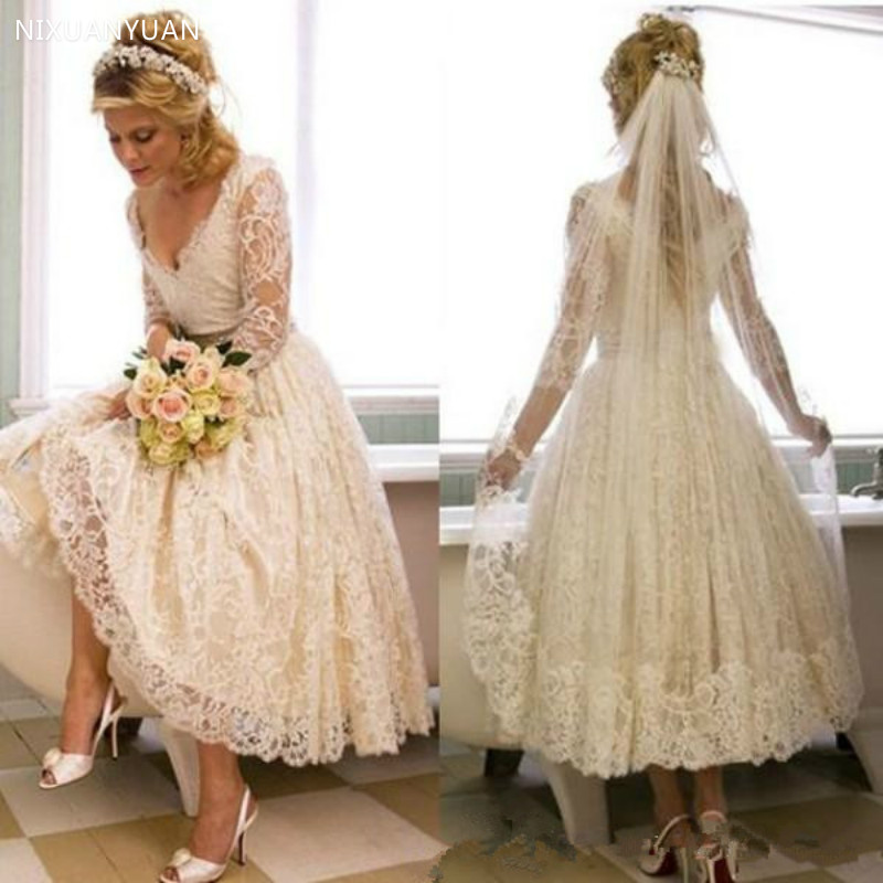 Lace 2020 1950s V Neck Wedding Dress Tea Length Country Style Short Bridal Gowns with Illusion 3/4 Sleeves Wedding Gowns