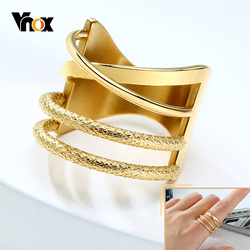Vnox Layered Women Ring Gold Tone Geometric Chic Lady Wedding Party Band Solid Stainless Steel Metal Minimalist Jewelry
