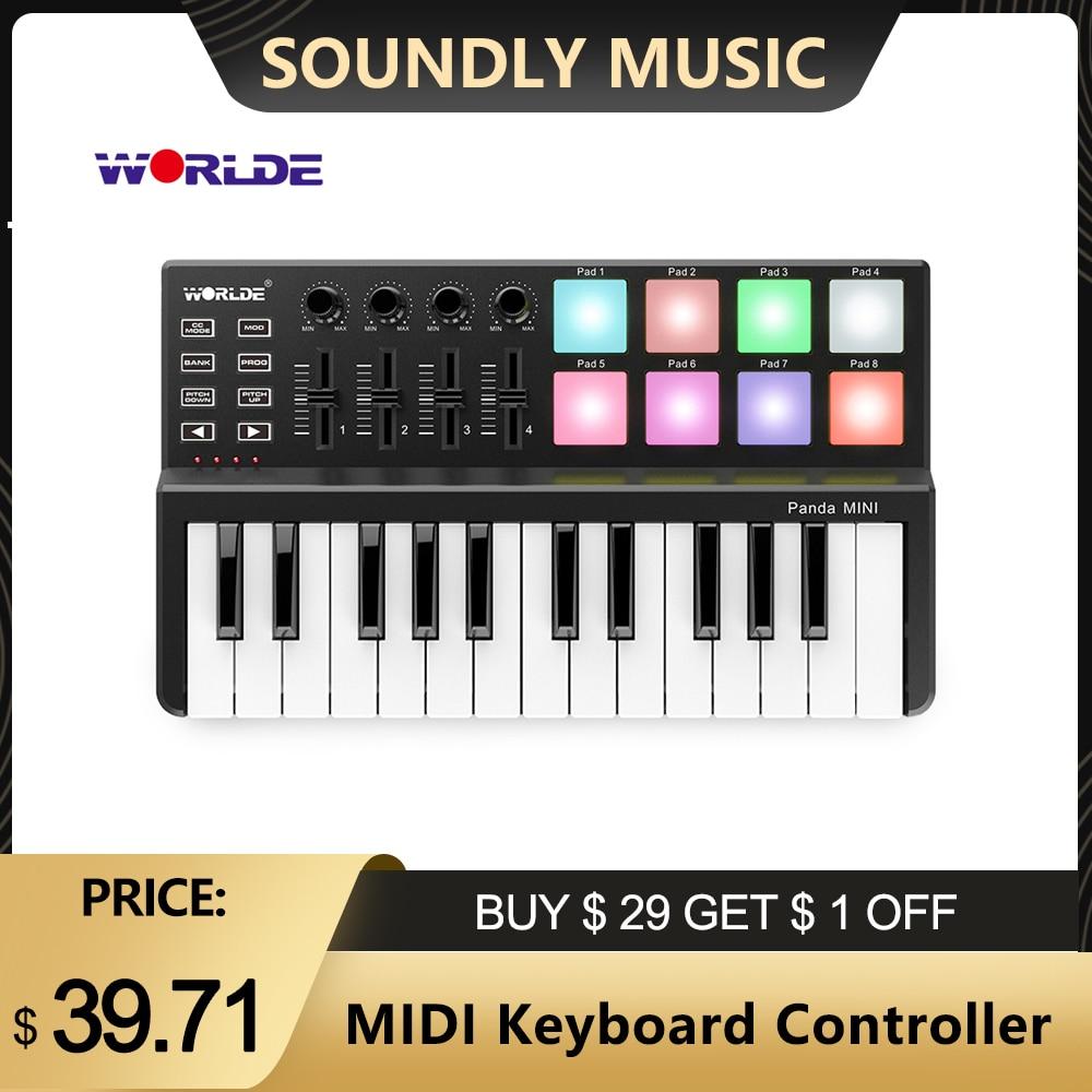 Лидер продаж на выбор панда MIDI-клавиатура MIDI контроллер и барабан Pad MINI 25 Ultra-Портативный USB MIDI контроллер клавиатуры 7 видов стилей