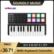 Hot WORLDE Panda MIDI Keyboard MIDI Controller and Drum Pad MINI 25-Key Ultra-Portable USB MIDI Keyboard Controller 7 Styles