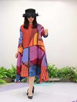HOT SELLING Miyake Fold fashion stripe print o neck Nine points sleeve big A Line dress IN STOCK
