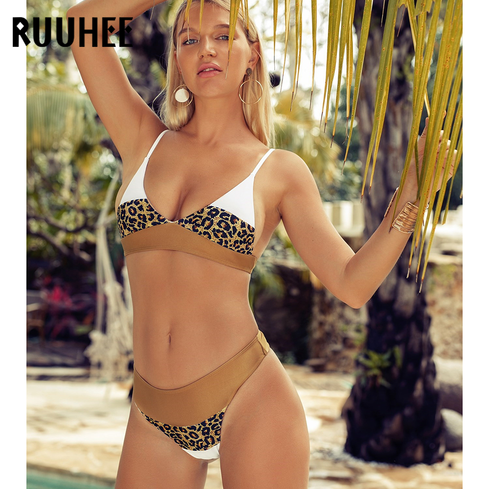 RUUHEE 2019 Sexy Leopard Bikinis Swimwear Swimsuit Women Bathing Suit Push Up Brazilian Bikini Set Summer Beachwear Biquinis