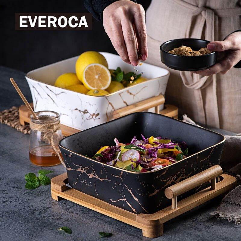 Plateau à salade aux fruits noir et blanc | Assiette en céramique de Texture carrée en marbre de Style européen assiettes à dîner fournitures de cuisine