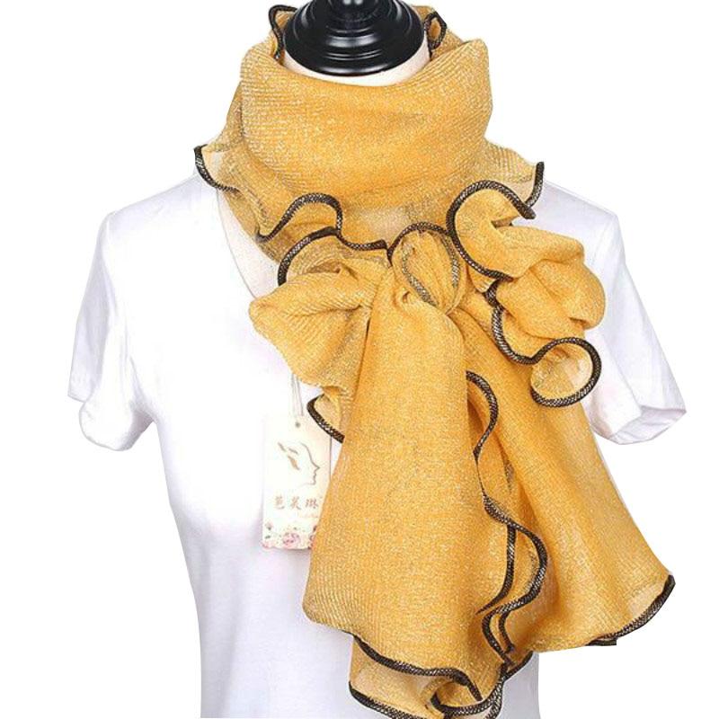 New Arrival Silk Scarves Long Trendy Women Gauze Plain Color  Scarf Wrap Women's Breathe Absorb Sweat Lace Shawl