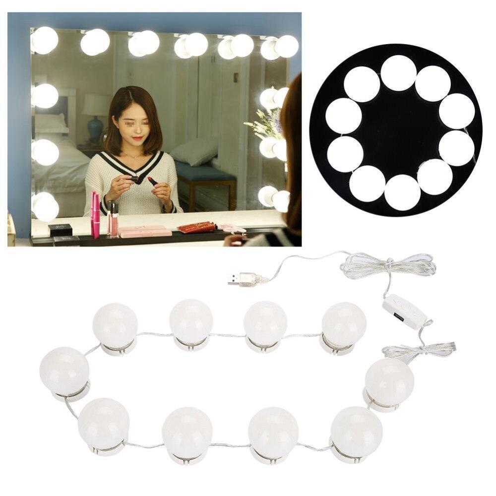10 żarówek lusterko do makijażu z oświetleniem Led lusterko kosmetyczne Port ładowania USB żarówka kosmetyczna regulowane lusterka do makijażu jasność światła