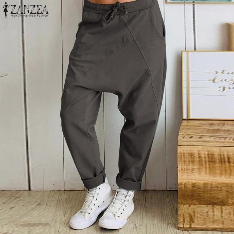 ZANZEA Plus Size Women Drop-crotch Pants Ladies Casual Elastic Waist Work Office Long Trousers Fashion Streetwear Pantalones