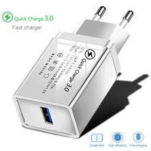 Зарядное устройство USB, быстрая зарядка 3,0, европейская вилка, быстрая зарядка, дорожный настенный адаптер для iPhone 11, XR, Samsung S20, планшетов, зарядное устройство