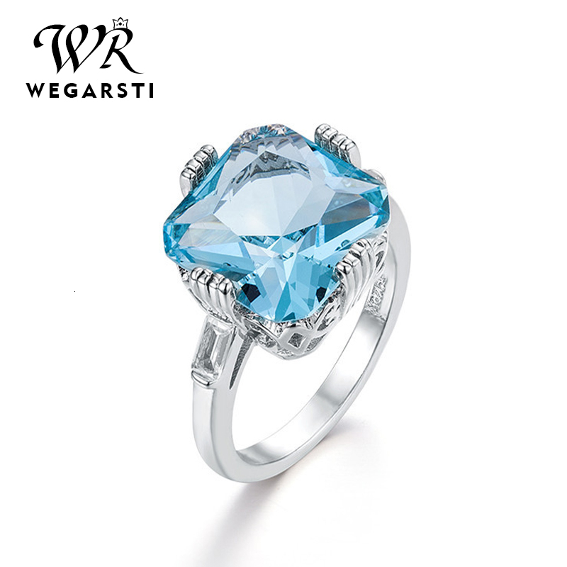 WEGARASTI Silver 925 Jewelry Ring Aquamarine Topaz Party Classic 925 Sterling Silver Rings Jewelry Woman Wedding Party Gift