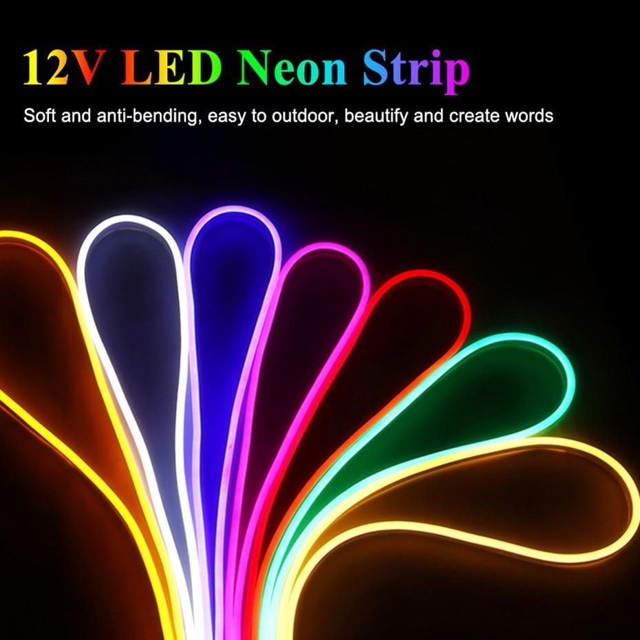 Водонепроницаемая светодиодная лента, 12 В, 2835 светодиодов/м, неоновая Светодиодная светильник та, 12 В, IP67, белая/теплая белая, красная, зелена...