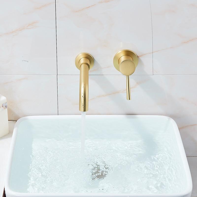 Vidric матовый золотой кран для раковины, скрытый настенный кран, 360 вращение, одна ручка, горячая и холодная вода, смеситель для ванны